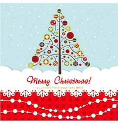 Ornate Christmas card with xmas tree vector image vector image