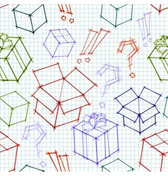 Seamless background with doodle sketches of gifts vector image vector image