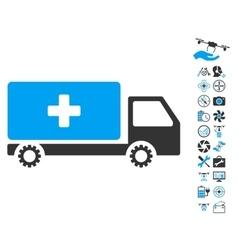 Service car icon with air drone tools bonus vector