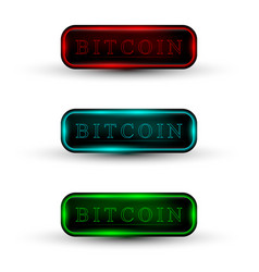 set of web buttons with neon light vector image