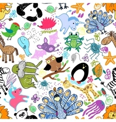 Childrens drawings seamless pattern with animals vector image vector image