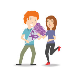 couple lover with romantic bouquet flowers vector image