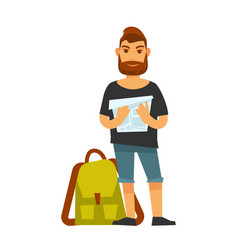 Man standing near travelling backpack and holds vector