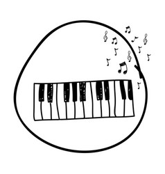 Monochrome hand drawing of piano keyboard in vector