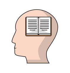 profile head book knowledge vector image
