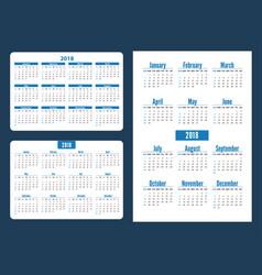 set simple pocket calendar years week starts from vector image vector image