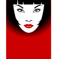 Woman with red lips and bob hairstyle vector