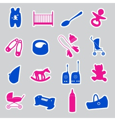 equipment for baby stickers set eps10 vector image