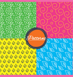 flower leaves and floral seamless textures vector image vector image