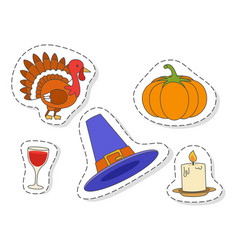 Thanksgiving day symbols stickers flat set vector