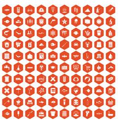 100 fish icons hexagon orange vector image