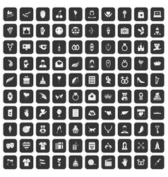 100 heart icons set black vector