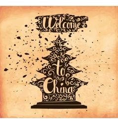 A poster on aged paper The trip to China An vector