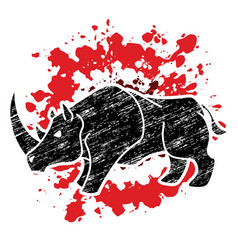 angry rhino cartoon graphic vector image
