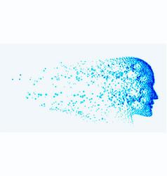 Artificial intelligence ai destroying blue face vector