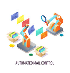 automated email control concept isometric vector image