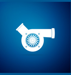 Automotive turbocharger icon on blue background vector