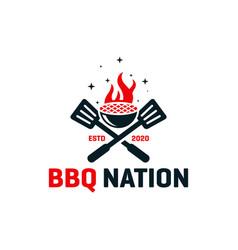 bbq cooker logo design vector image
