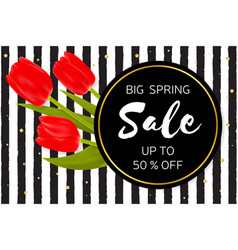Big spring sale background with beautiful flowers vector