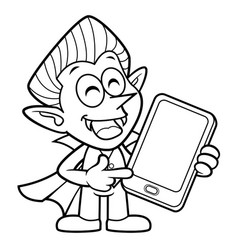 black and white dracula mascot is holding a vector image