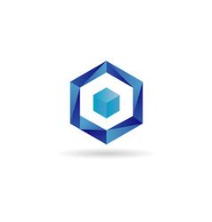 blue cube logo design symbol icon vector image