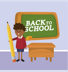 Boy student with pencil and desk utensil vector