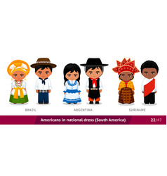 brazil argentina suriname men and women in vector image