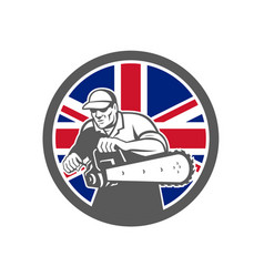 British arborist union jack flag icon vector