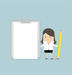 businesswoman holding clipboard with blank paper vector image