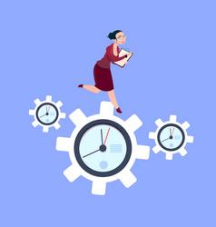 businesswoman running on clock cogwheels over blue vector image