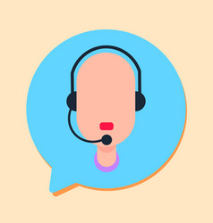 Callcenter man support online operator with vector