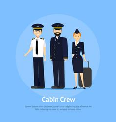 cartoon aviation crew members card poster vector image