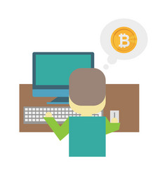 cartoon flat - mining bitcoin a vector image