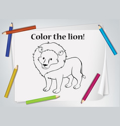 children lion coloring worksheet vector image