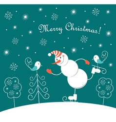 Christmas skating happy snowman vector image