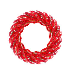 christmas wreath red isolated fir branch circlet vector image