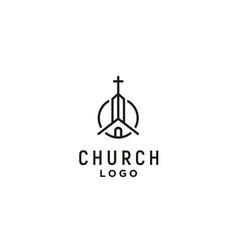 church chapel catholic christian cross logo line vector image
