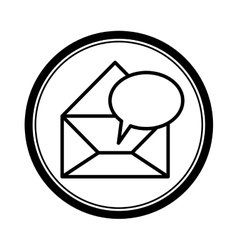 Circular shape with blank paper envelopes opened vector