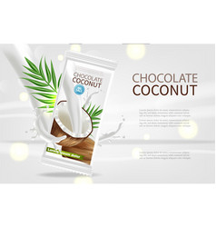 coconut chocolate realistic mock up vector image
