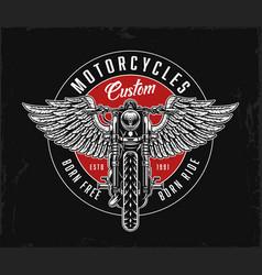 Custom motorcycle vintage round logo vector