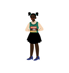 cute african american girl standing with books vector image