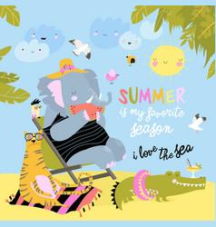 Cute cartoon animals sunbathing on beach hello vector