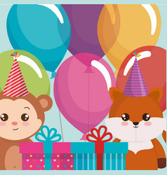 cute fox and monkey with gifts vector image