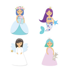 Cute little princess mermaid angel cartoon vector