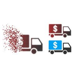 Disintegrating pixel halftone cash delivery car vector