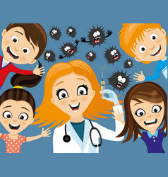 Doctor with a syringe and healthy kids vector