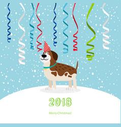 dog and ribbons 2018 christmas card vector image