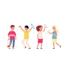 eco friendly children happy kids with textile vector image