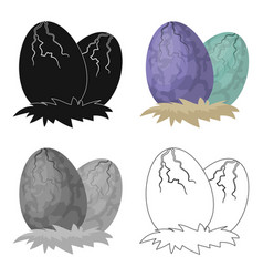 eggs of dinosaur icon in cartoon style isolated on vector image