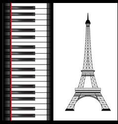 eiffel tower with piano vector image
